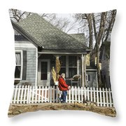 Two Handed Dog Walk Throw Pillow