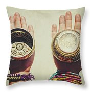 Two Hands Holding And Showing Both Sides Of Decorated Tibetan Singing Bowls Throw Pillow