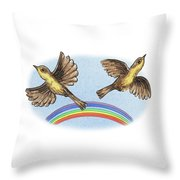 Two Happy Birds Throw Pillow