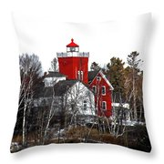 Two Harbors Lighthouse Close-up Throw Pillow