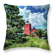 Two Harbors Lighthouse Throw Pillow