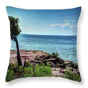 Two Harbors North Pierhead Light Throw Pillow