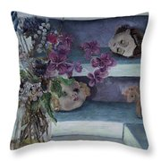 Two Heads With Bouquet Throw Pillow