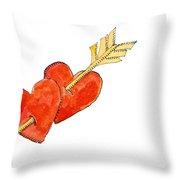 Two Hearts   Arrow Throw Pillow