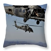 Two Hh-60 Pave Hawk Helicopters Prepare Throw Pillow