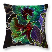 Two Hibiscus Glowing Edges Abstract Throw Pillow
