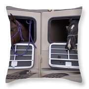 Two Horses Are Ready To Travel Throw Pillow