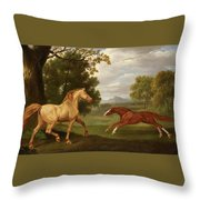 Two Horses In A Landscape Throw Pillow
