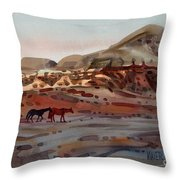 Two Horses In The Arroyo Throw Pillow