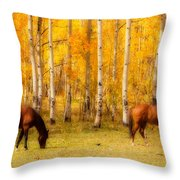 Two Horses In The Colorado Fall Foliage Throw Pillow