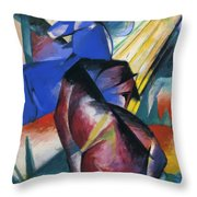 Two Horses Red And Blue 1912 Throw Pillow
