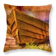 Two Idle Boats Throw Pillow