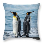 Two King Penguins Facing In Opposite Directions Throw Pillow