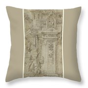 Two Kings And A Woman Leaving An Elaborate Palace Throw Pillow