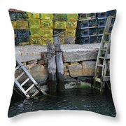Two Ladders At High Tide Throw Pillow