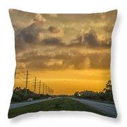 Two Lane Sunset Throw Pillow