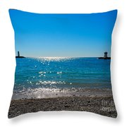Two Lighthouse And The Wonderful Beach Throw Pillow
