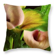 Two Lily With Leaf Throw Pillow