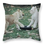 Two Lion Cubs Playing Throw Pillow