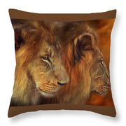 Two Lions Throw Pillow