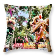 Two Lions Dancing  Throw Pillow