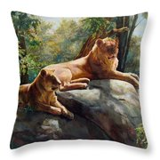 Two Lions - Forever And Always Together Throw Pillow