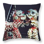 Two Lions Kung Fu Club Throw Pillow