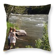Two Little Girls Playing By The River Throw Pillow