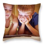 Two Little Kids Throw Pillow