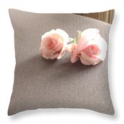 Two Little Pink Roses Throw Pillow