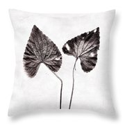 Two Little Violet Leaves Throw Pillow