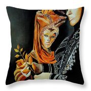 Two Masks In Venice  Throw Pillow
