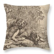 Two Mastiffs Beside A Fountain Throw Pillow