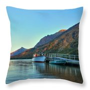 Two Medicine Boat Dock Throw Pillow