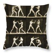 Two Men Boxing Throw Pillow