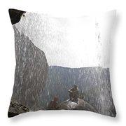 Two Men Exploring Tar Creek Waterfalls Throw Pillow