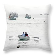 Two Men In A Dinghy Throw Pillow
