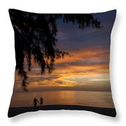 Two Men Walking On Sunset Throw Pillow