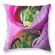 Two Metallic Green Bees Rolled Up In A Pink Flowers Petals Throw Pillow