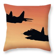Two Migs At Sunset Throw Pillow