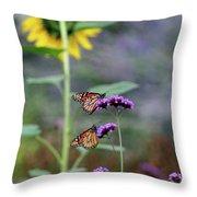 Two Monarch Butterflies And Sunflower 2011 Throw Pillow