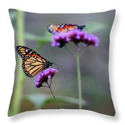Two Monarchs On Verbena Throw Pillow