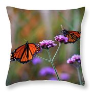 Two Monarchs Sharing 2011 Throw Pillow