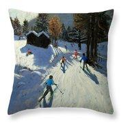 Two Mountain Huts Throw Pillow