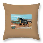 Two Mustangs Throw Pillow