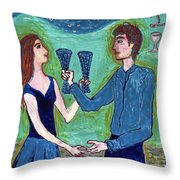 Two Of Cups Illustrated Throw Pillow