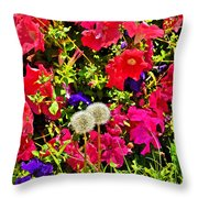 Two Of Dandelion. Floral Carpet. Throw Pillow