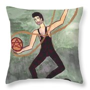 Two Of Pentacles Illustrated Throw Pillow