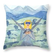 Two Of Swords Illustrated Throw Pillow