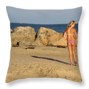 Two Oil Platforms On Horizon Throw Pillow